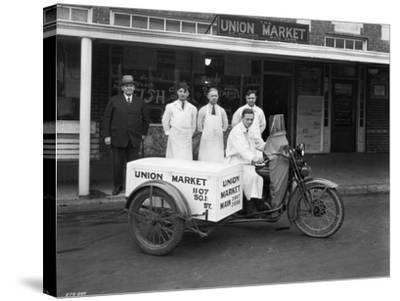 Union Market Delivery Motorcycle, 1927-Chapin Bowen-Stretched Canvas Print