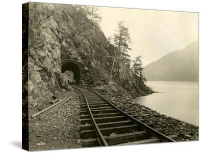 Lake Crescent Road, 1918-Asahel Curtis-Stretched Canvas Print