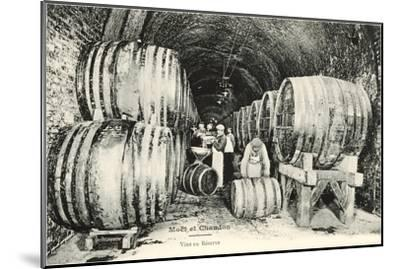 Wine Casks in Storage, Moet et Chandon--Mounted Art Print