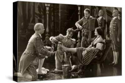 Nobility Pouring Champagne over Woman's Foot--Stretched Canvas Print