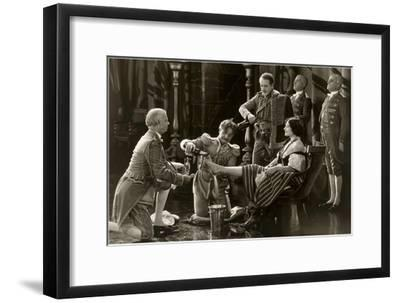 Nobility Pouring Champagne over Woman's Foot--Framed Art Print