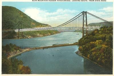 Bridge over Hudson River, New York--Stretched Canvas Print
