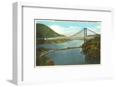 Bridge over Hudson River, New York--Framed Art Print