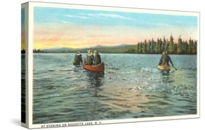 Canoing on Raquette Lake, New York--Stretched Canvas Print