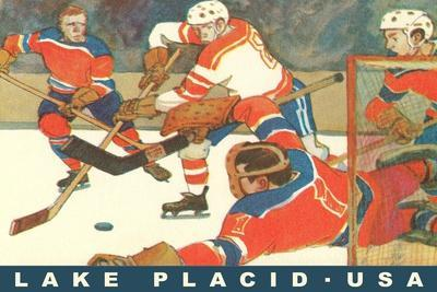 Hockey Game in Lake Placid, New York--Stretched Canvas Print