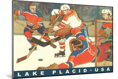 Hockey Game in Lake Placid, New York--Mounted Premium Giclee Print