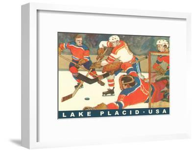 Hockey Game in Lake Placid, New York--Framed Art Print