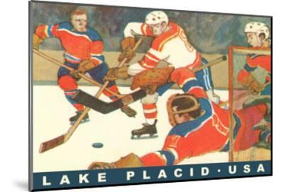 Hockey Game in Lake Placid, New York--Mounted Art Print