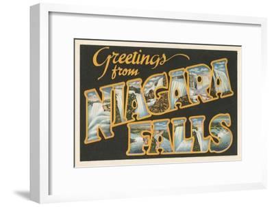 Greetings from Niagara Falls--Framed Art Print