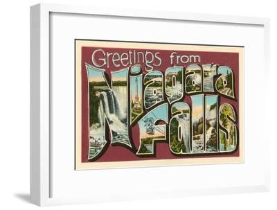 Greetings from Niagara Falls--Framed Art Print