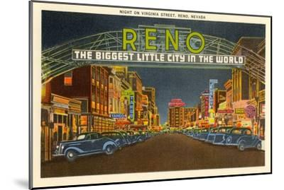 Night, Virginia Street, Reno, Nevada--Mounted Art Print