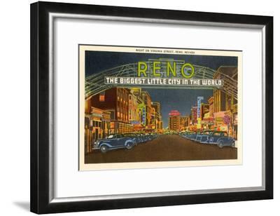 Night, Virginia Street, Reno, Nevada--Framed Art Print