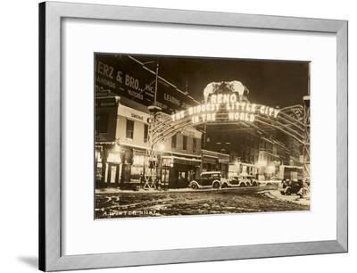 A Winter Night in Reno, Nevada--Framed Art Print