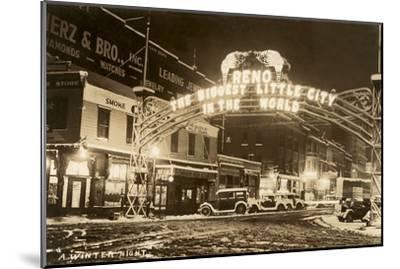 A Winter Night in Reno, Nevada--Mounted Art Print