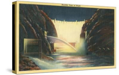 Boulder Dam at Night, Nevada--Stretched Canvas Print