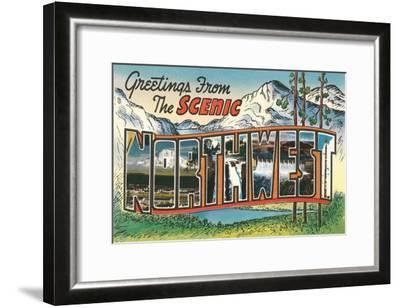 Greetings from the Scenic Northwest--Framed Art Print
