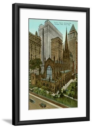 Trinity Church, Skyscrapers, New York City--Framed Art Print
