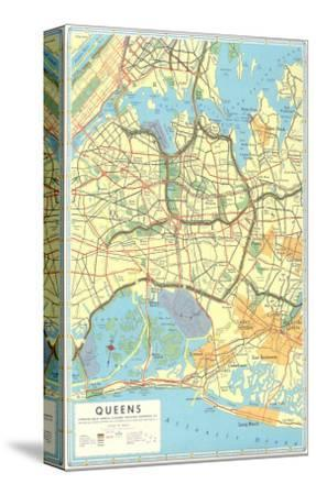Map of Queens, New York--Stretched Canvas Print