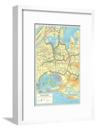 Map of Queens, New York--Framed Premium Giclee Print