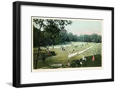 Lawn Tennis in Central Park, New York City--Framed Art Print