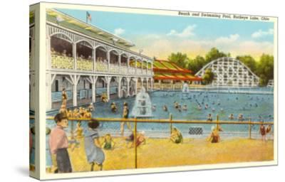 Beach and Pool, Buckeye Lake, Ohio--Stretched Canvas Print