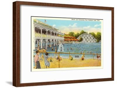 Beach and Pool, Buckeye Lake, Ohio--Framed Art Print