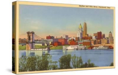 Skyline and Ohio River, Cincinnati, Ohio--Stretched Canvas Print