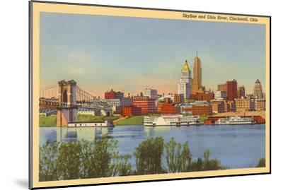 Skyline and Ohio River, Cincinnati, Ohio--Mounted Art Print
