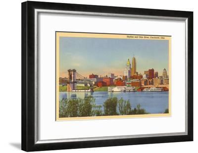 Skyline and Ohio River, Cincinnati, Ohio--Framed Art Print