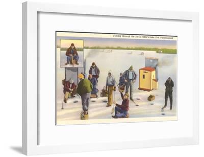 Ice Fishing, Lake Erie, Ohio--Framed Art Print