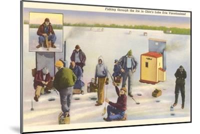 Ice Fishing, Lake Erie, Ohio--Mounted Art Print
