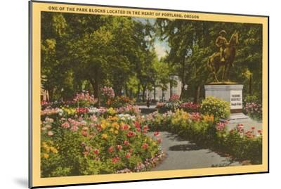 Park with Flowers, Portland, Oregon--Mounted Art Print