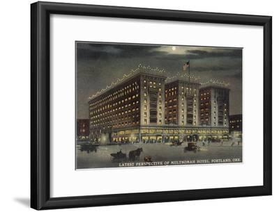 Multnomah Hotel at Night, Portland, Oregon--Framed Art Print