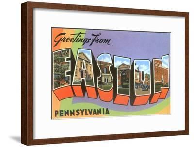 Greetings from Easton, Pennsylvania--Framed Art Print