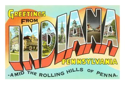 Greetings from Indiana, Pennsylvania--Framed Art Print