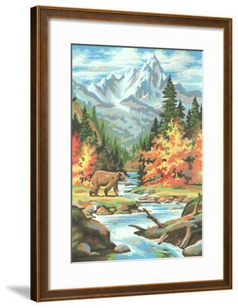 Paint by Numbers, Bear Scene--Framed Art Print