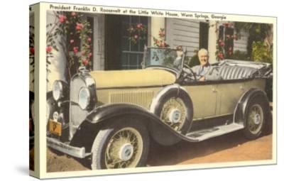 Franklin Roosevelt in Vintage Car, Warm Springs, Georgia--Stretched Canvas Print