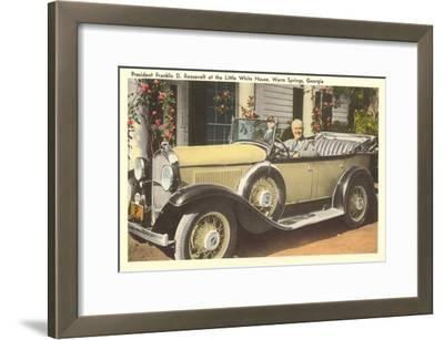 Franklin Roosevelt in Vintage Car, Warm Springs, Georgia--Framed Art Print