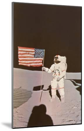Astronaut with Flag on Moon--Mounted Art Print