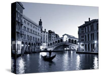 Gondola by the Rialto Bridge, Grand Canal, Venice, Italy-Alan Copson-Stretched Canvas Print