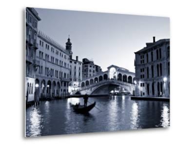 Gondola by the Rialto Bridge, Grand Canal, Venice, Italy-Alan Copson-Metal Print