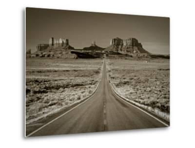 Straight Road Cutting Through Landscape of Monument Valley, Utah, USA-Gavin Hellier-Metal Print