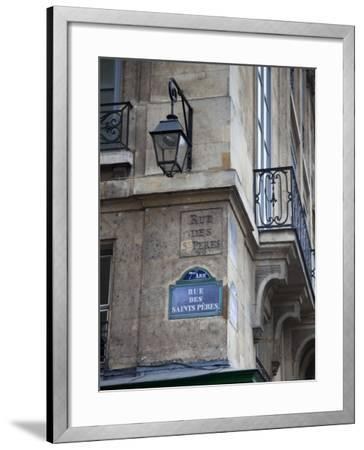 Street Sign and Building, Rive Guache, Paris, France-Jon Arnold-Framed Photographic Print