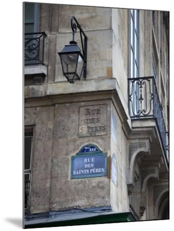 Street Sign and Building, Rive Guache, Paris, France-Jon Arnold-Mounted Photographic Print