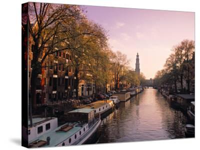 Westerkerk, Prinsengracht Canal, Amsterdam, Holland-Jon Arnold-Stretched Canvas Print