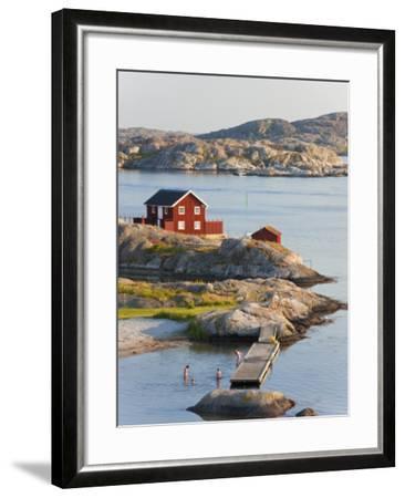Bathing in Sea, Skarhamn on Island of Tjorn, Bohuslan, on West Coast of Sweden-Peter Adams-Framed Photographic Print