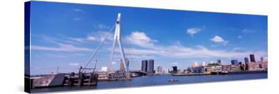 Bridge Across a River, Erasmus Bridge, Nieuwe Maas River, Noordereiland, Rotterdam, South Holland--Stretched Canvas Print