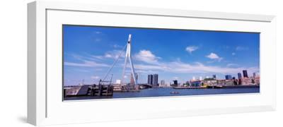 Bridge Across a River, Erasmus Bridge, Nieuwe Maas River, Noordereiland, Rotterdam, South Holland--Framed Photographic Print