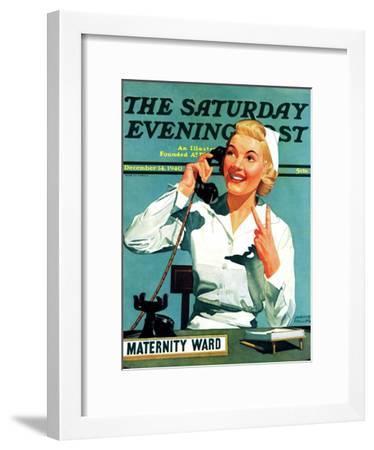 """Maternity Ward,"" Saturday Evening Post Cover, December 14, 1940-John Hyde Phillips-Framed Giclee Print"