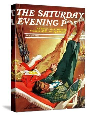 """Apres Ski,"" Saturday Evening Post Cover, February 22, 1941-Ski Weld-Stretched Canvas Print"